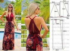 Drawing with measurements for sewing summer maxi dress with halter top