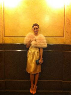 Rochas dress, Charlotte Olympia shoes, Giorgio Armani stole, Vintage Clutch,    Carrera y Carrera earrings