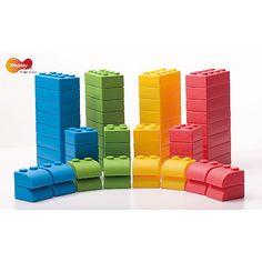 Weplay, Q-Blocks 64 tlg, hochqualitativ, Softmaterial, Bausteine, geräuscharmes Spielen, ab 2 Jahren,
