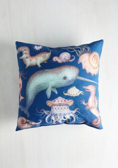 Creatures of the Whim-sea Pillow. Youve really fallen for the ocean-dwelling lifeforms of this marine-blue pillow! #multi #modcloth