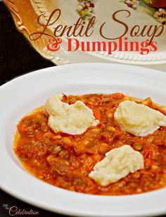 Lentil Soup & Dumplings - a fantastic, comforting soup PLUS dumplings! From littlemisscelebration.com