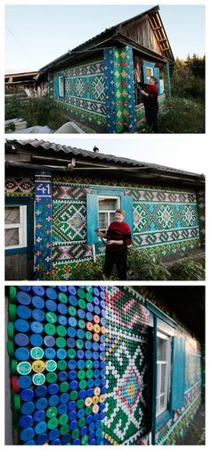 Russian pensioner, Olga Kostina used thousands of plastic bottle tops to create mosaics adorning her home in the village of Kamarchaga, Siberia. The patterns are based on traditional macrame motifs and she has vowed to carry on until every wall is covered… https://www.jovoto.com/blog/creatives/interior-design-and-architecture-around-the-world/?utm_source=pinterest.com&utm_campaign=cm16pincontent&utm_medium=social&utm_content=80days