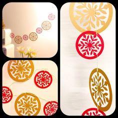 Guirnalda copos de nieve de papel, dorado y rojo! Mide 1 mt. $10.000. Encarga la tuya del largo y color que quieras (verde,rojo o dorado) ❤️✨