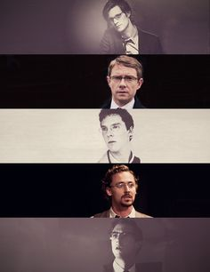 British boys in spectacles (Matt Smith, Martin Freeman, Benedict Cumberbatch, Tom Hiddleston, and... Rory. Whose name I know. It'll come to me.... *edit* Yes! Arthur Darvil. Exactly.)