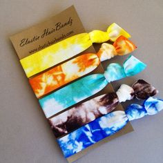 5 of Elastic Hair Bandz Hand Dyed hair ties. Heat Sealed to help prevent fraying. Elastic hair bandz hair ties are made with a soft & stretchy elastic that is extremely gentle to your hair and skin. Tie Dye Hair, Tie Dyed, Dyed Hair, Tie Crafts, Diy Arts And Crafts, Diy Bralette, Tie Dye Party, Tie Headband, Headbands