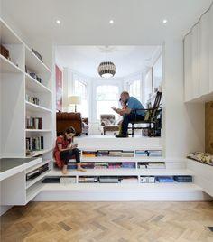 Small House - Zminkowska de Boise Architects - London - Living Room - Humble Homes Stair Shelves, Bookshelves, Bookcase Stairs, Storage Stairs, Bookshelf Design, Home Library Design, House Design, Library Ideas, Small Living