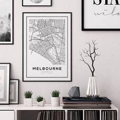 Melbourne Map Print, Melbourne City, Australia Print, Map Art, Melbourne Map Poster, Australia, Blac