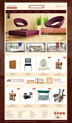 Furniture #OpenCart #Theme is specially designed for furniture and home accessories stores. Great colors combination. All sub pages are customized. It is very nice with its clean and professional look. http://www.templatemela.com/furniture-opencart-theme.html