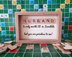 Husband Anniversary Gift, Scrabble Art Picture, Scrabble Tile Frame, Gift for him, Fun Gift for him by SarahLovesCraftsShop on Etsy Scrabble Letter Crafts, Scrabble Art, Scrabble Letters, Scrabble Tiles, Anniversary Crafts, Anniversary Gifts For Husband, 60th Birthday Gifts, Birthday Fun, Scrabble Kunst