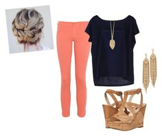 coral and navy by tallpinesgirl on Polyvore featuring polyvore fashion style Gotha James Jeans GUESS Capwell + Co clothing