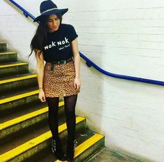 Cool girl Chloe Cooling mixing animal prints with the NOKNOK who's there tee and we love it!