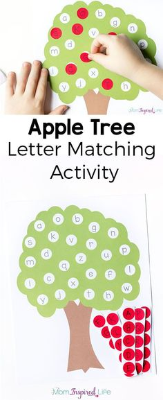 Fine motor craft option This letter matching apple tree alphabet activity is a great way to teach the alphabet this fall! It's perfect for preschoolers and kindergarten students and would be a good addition to your alphabet or literacy center. Teaching The Alphabet, Learning Letters, Kids Learning, Center For Learning, Alphabet Games For Kindergarten, Kindergarten Learning, Learning Numbers, Preschool Kindergarten, Learning Spanish