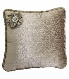 25% OFF July 8-12, 2016 Christmas in July! Accent Pillow Taupe and Champagne Leopard with Jeweled Embellishment 18x18