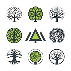 set of logo design elements badges labels and logotype templates for your business Logo Arbol, Tree Of Life Logo, Badges, Wood Logo, Vector Trees, Vector Logo Design, Tree Logos, Branding, Trendy Tree