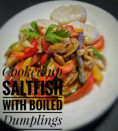 Cooked up saltfish ( jamaican ) with boiled dumplings  #boileddumplings #saltfish #jamaicanfood