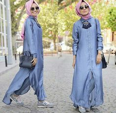 long cardigan with buttons.Hulya Aslan hijab fashion looks… Turkish Fashion, Islamic Fashion, Muslim Fashion, Modest Fashion, Trendy Fashion, Fashion Looks, Hijab Look, Hijab Style, Hijab Chic