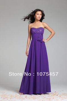 6d50f80df1a73 Custom Violet Chiffon Bridesmaid Dresses Floor Length 2014 New Arrival  Pleat with Sashes Off the Shoulder Free Shipping JB55