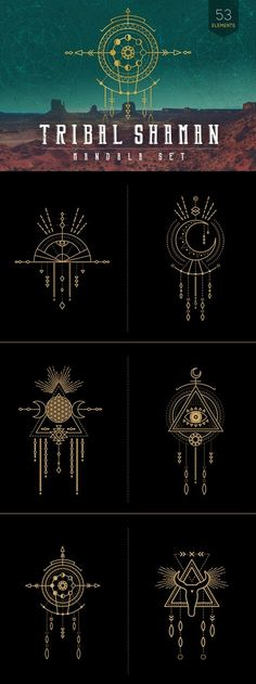 This tribal-inspired mandala set combines elements of the earth, moon, geometry, feathers and animal totems. With the utmost respect and honor for the native Element Tattoo, Mandala Rose Tattoo, Moon Mandala, Mandala Drawing, Chaman Tattoo, Shaman Symbols, Tribal Symbols, Moon Symbols, Tattoo Symbols
