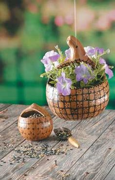 How to Make Gourd Art  Simple gourd project doubles as a basket and bird feeder. Find out how to make your own with these simple instructions.