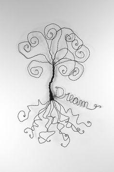 Dream Catcher Wire Tree Wall Art Sculpture