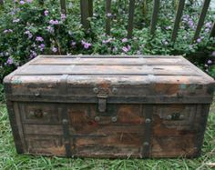 Vintage,large,wood,chest,trunk,wood and metal detail,locker,crate,box with handles,storage,man cave, boys room,garage