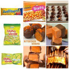 Receita de Butterfinger bombons//- (os bombons prontos,serve para usar em tortas ou bolinhos/...etc)  550g(pacote)de doces de milho(balas cremosas de milho/veja fotos)-  550g (pote)de manteiga de amendoim cremosa-  Chocolate p/ mergulhos-