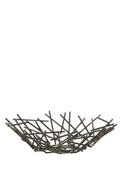 """Slender matchstick-sized pieces of natural iron are fused together with brass welds to create this organic yet industrial centerpiece. Since each is hand-assembled size will vary.  Dimensions:H: 5""""Dia: 18.5""""  Grazia Centerpiece by RENDR. Home & Gifts - Home Decor - Decorative Objects Texas"""