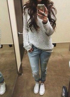 Comfy sweater, light jeans, and sneakers. Sounds like matches made in causal heaven! Comfy sweater, light jeans, and sneakers. Sounds like matches made in causal heaven! Fall Outfits For School, Winter Outfits, Winter Dresses, Spring Outfits, Spring Skirts, Everyday Outfits, Look Fashion, Autumn Fashion, Womens Fashion