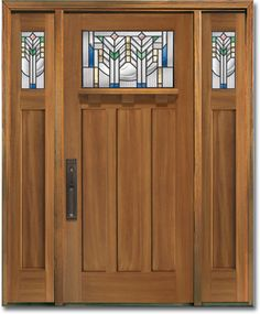 Craftsman Style Front Door - this is exactly my door but cream color thinking painting faux wood or black