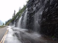 Going to the Sun Road - Weeping Wall. Roll up your windows!