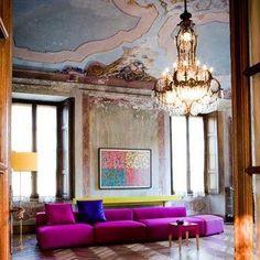 Gorgeous magenta sofa