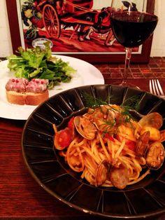 Bistro cosicosi❤︎ Today'sDinner❤︎ date❤︎2014.11  ⋈豚肉と鷄レバーのテリーヌ ⋈真鯛とアサリのトマトソース  #ビストロコジコジ