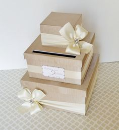 WEDDING CARD BOX Money Holder Champagne Ivory by LittleDivine, $98.00