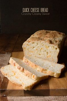 Quick Cheese Bread by CrunchyCreamySweet.com | Super easy and quick cheese bread, perfect for sandwiches or toasted and paired with soup!