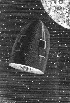 """Jules Verne's """"Around the Moon"""" - Illustration by Émile-Antoine Bayard and Alphonse de Neuville Jules Verne, Steampunk Images, Moon Drawing, Moon Illustration, Digital Fabrication, Science Fiction Books, Retro Futurism, Art And Architecture, Les Oeuvres"""