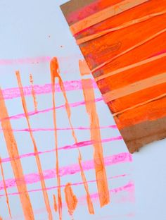 Rubber Band Printing for Kids - Overlapping colors