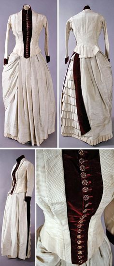 Walking dress, circa 1883-1884. Silk in green and pale tan check with deep…