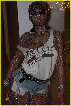 Rihanna Wears Full Bodysuit & Mask for Coachella 2017