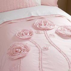 Kids' Bedding: Girls' Pink Roses Duvet Cover in New to Sale land of nod Light Pink Bedding, Pink Comforter, Pink Bedspread, Pink Love, Pretty In Pink, Childrens Room, Bed Cover Design, Rideaux Design, Rose Pastel
