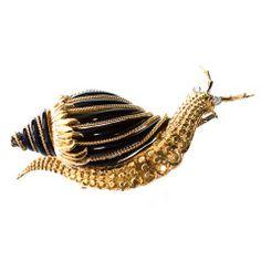 David Webb Black Enamel Snail Brooch