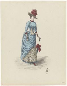 Anonymous | Vrouw met parasol, Anonymous, 1870 - 1880 | Een vrouw, lopend naar rechts, van voren gezien, in de linkerhand een paraplu of parasol, afgezet met een grote strik. Hoed met zelfde strik op het hoofd. Blauwe ?? over een ...