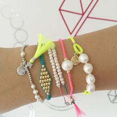 #Neon #ArmParty #ArmCandy #PearlLover #MacrameLover #SterlingSilver #GoldPlated