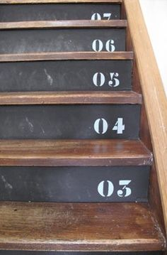 Stenciled number stairs.                                                                                                                                                                                 More