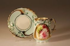 ART Nouveau Sikilian Turquoise AND Rose Cocoa Cups AND Saucers German C 1890s | eBay