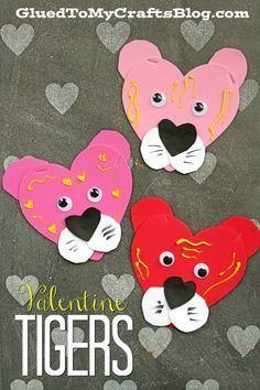Craft Foam Heart Valentine Tigers - Valentine's Day Kid Craft Idea #kidcrafts #valentinesday #heart #tiger