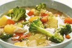 Ingredientes 4 filés (600 g) de frango 1/2 limão 1 xíc. (chá) de cebola picada 4 dentes de alho picados 1 litro de água (ou caldo de legumes) 8 xíc. (chá) de verduras (brócolis, repolho, acelga, es…