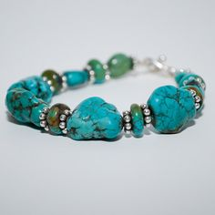 Bold Turquoise Nugget and Sterling Silver by MixedMediaDesigns1, $65.00