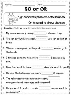 Conjunctions so, or, but, and, for (because) grade Common Core practice sheets English Grammar Worksheets, Grammar Lessons, Grammar Skills, Grammar Rules, First Grade Worksheets, School Worksheets, Writing Worksheets, English Lessons, Learn English