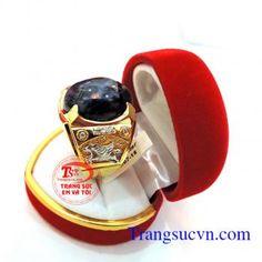 Nhẫn sapphire sọc vàng tây đẹp