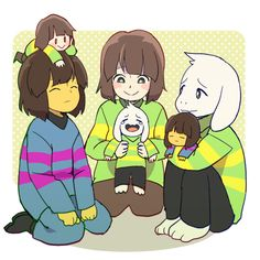 Frisk, Chara, and Asriel
